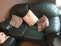 Green Leather Three Piece Sofa