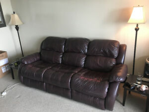 brown leather double recliner couch