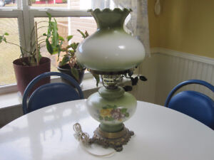 Vintage Porcelain Hurricane Style Shade and Base Table Lamp