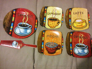 Unique coffee themed serving set with 4 serving plates Kitchener / Waterloo Kitchener Area image 1