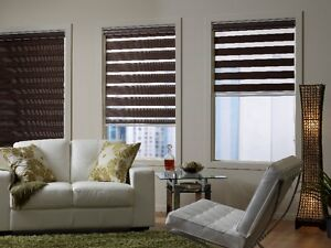 Silhouettes,ZEBRA, FAUX Wood, VERTICAL Blinds & Roller Shades