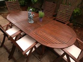 John Lewis Teak Extending Garden Table, 6 folding recliner armchairs