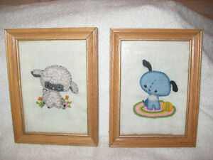 Pr.of ADORABLE NEEDLECRAFT FRAMED CHILD'S WALL HANGINGS