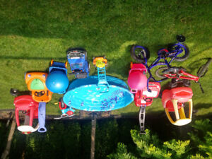 Kids outdoor toys - pool, bikes, cars, wagons, good condition