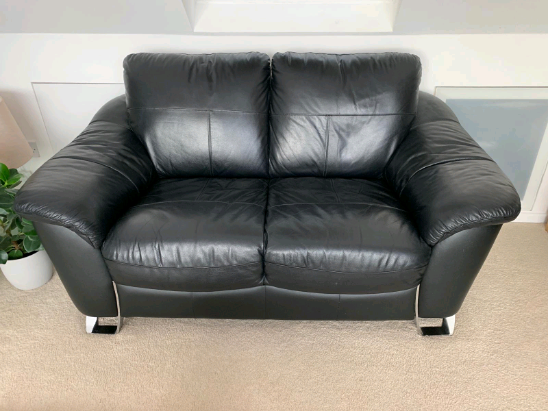 Black leather sofa | in Westgate-on-Sea, Kent | Gumtree