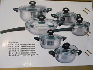 12 Pieces Set of Stainless Steel Casseroles with Glass Lids