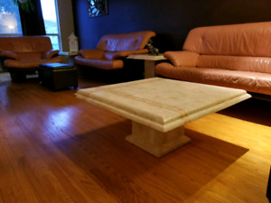 Real Leather Couches, Side tables and coffee table