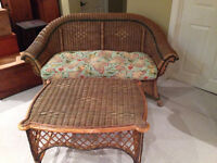 Brown wicker settee & chairs, newer & vintage.