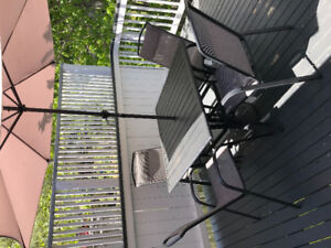 Patio Table, Chairs and Umbrella Set