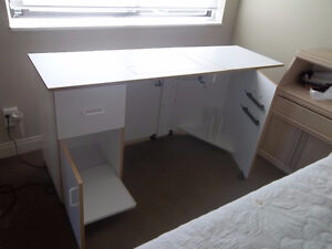 Sewing machine cabinet in white