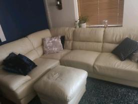 Faux leather cream corner sofa