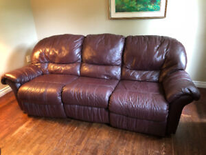 Burgundy Reclining Leather Couch & Chair