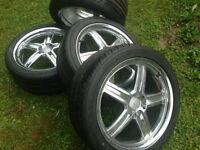 4 pneus 245/40/18 neuf avec mags pour mercedes,audi 5x112
