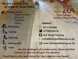 Installing laminate, parquet, engineering floors, solid wood, sanding, polishing, varnishing