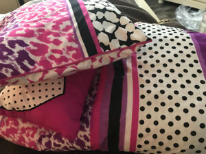 Pretty Reversible Double Comforter with Two Throw Pillows