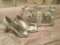 SILVER SHoes / bag/ jewellery
