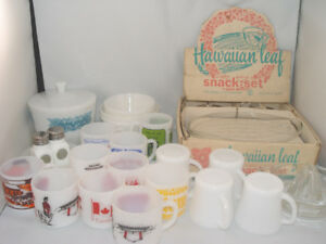 Vintage 1960's Federal Glass 29 Pcs Lot Snack Set Mugs Bowls