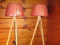 WOOD TRIPOD FLOOR LAMPS