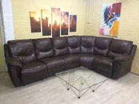 Modular Brown Leather Reclining Corner Sofa