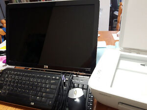 19 Inch HP Monitor, Keyboard, Mouse, and Printer