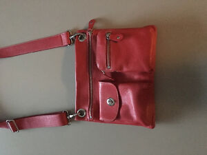 New bright red leather villager roots bag