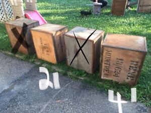 Caisse de bois antique, caisse de transport de  thé vintage