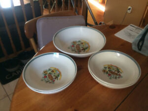 Set of pasta dishes