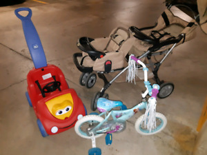 Double stroller + Frozen trike + Lil buggy car + Infant car seat