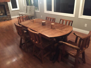 Reclaimed Teak Dining Set with 6 Chairs