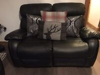 2 & 3 seater black leather sofas