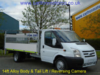 2013/ 13 Ford Transit T350EF Dropside 14ft Alloy body T/Lift Rear Camera DRW