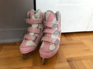 Patins à glace rose enfants Kids pink ice skates 8$ Softec