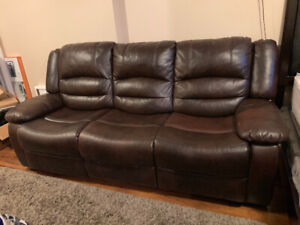 BROWN BONDED LEATHER COUCH