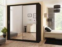 🌷💚🌷BRAND NEW IN BOX🌷💚🌷BERLIN 2 DOOR SLIDING #WARDROBE WITH FULL MIRROR -EXPRESS DELIVERY