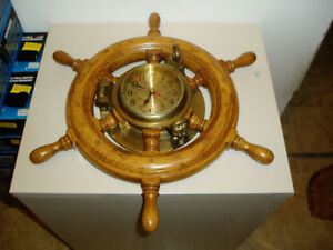 Wood & Brass Quartz Ship's Clock Heavy and Beautiful
