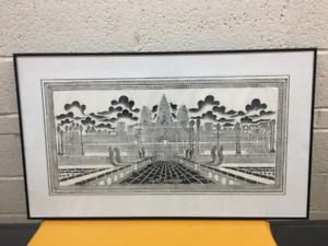 Over 70% OFF! Framed chalk drawings of Ankor Wat -Cambodia