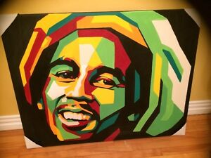 "Large 39"" x 39"" Bob Marley Original Acrylic Painting Artwork"