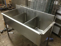 Used Stainless steel 3 comp sink on Sale