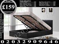 STRONG PU Leather Storage Frame Double King, Single Bedding Black Brown Bradford