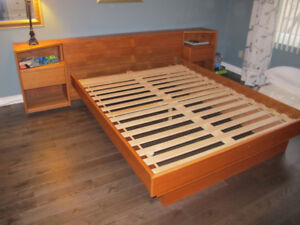 Queen Size Teak Bed with side tables.