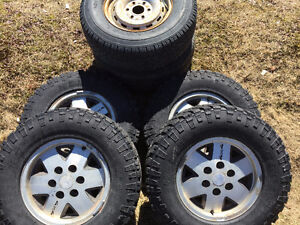 6  TIRES FOR $450.00  LT245/75r16 on  GMC 1/2 ton alum Rims