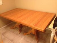 Large solid oak dining room table.