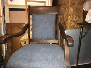 Vintage antique solid chestnut spring bottom Chair w/ arm rests