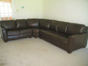 Large Top Grain All Leather Sectional Couch, Valued over $8000