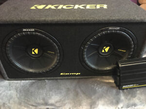"""2 12"""" SUBS and SUB AMP and BOX  For sale"""