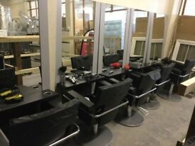 Hairdressers chairs and display setup and shop to let