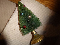 Vintage Green Bottle Brush Xmas Tree,  12 inch? with decorations