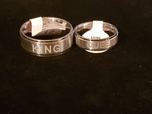 Brand new stainless steel king queen or mom dad rings