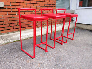 3 Tabourets RougeS Moderne Bar Counter Stools Red