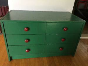 Green cabinet + wicker stand+  brown dresser